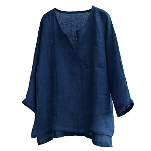 Camisetas Hombre,SHOBDW Verano de Lino Liso Algodón Talla Grande Botón de Manga Corta Camiseta con Cuello En V Blusa Suelta Camiseta Informal Tops para Hombres(Azul Oscuro,4XL)