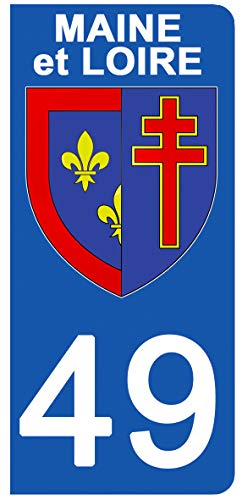 DECO-IDEES 2 Stickers pour Plaque d'immatriculation - 49 - Blason Maine ET Loire- Stickers Garanti 5 Ans