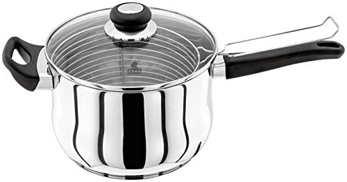 Judge Vista JJ84A Stainless Steel Chip Pan Fryer with Basket and Helper Handle 22cm, with Vented Glass Lid, Induction Ready, 25 Year Guarantee