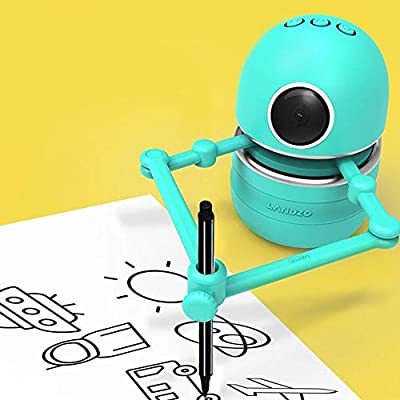 QuTZ Educational Drawing Robot Toy Learning Drawing Math Alphabet Spelling Interactive Game with Kids Ages 3-8 Robot Artist 6 Pens 4 Books 64 Playing Cards Rechargeable