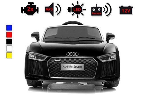 Kinderelektroauto - Audi R8 - 2 Motoren - Kinderfahrzeug Lizenz Fernbedienung - Schwarz*