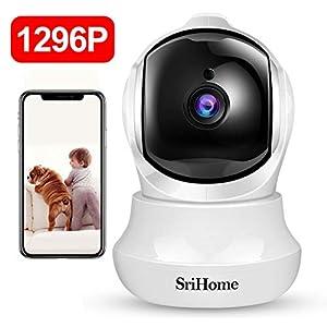 Cámara IP, Srihome 3MP Cámara de Vigilancia FHD con Visión Nocturna,Cámara de Mascota,Detección de Movimiento, Audio de 2 Vías, 2.4GHz WiFi, Compatible con iOS/Android
