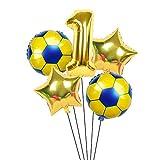 XIAOYAN Globos 6 unids / Lote 18 Pulgadas de fútbol fútbol Tema de fútbol Ronda Globos de lámina 32 Pulgadas Oro Plata número Globo Deporte Muchacho cumpleaños Fiesta Bolas ( Color : Emerald )