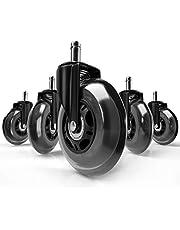 Vendix 5x Bureaustoel wielen geruisloos & krasvrij - universele harde vloer wielen ideaal voor parket, laminaat & tapijt
