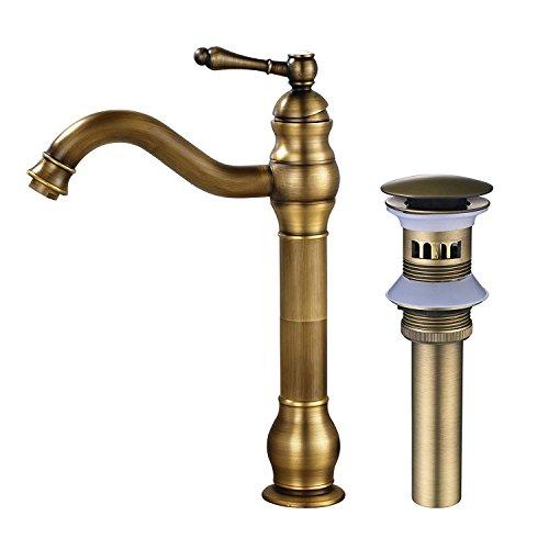 MEIBATH Badezimmer Waschbecken Mischbatterien Einhand Arbeitsplatte Wasserhahn Vessel Tap + Sink Pop up Drain (mit Überlauf) Antik Messing Wasserhahn Badarmatur Waschtischarmaturen