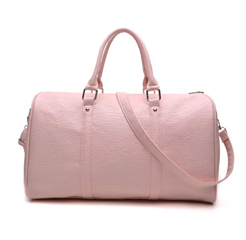Overnight Travel Bag Women Weekend Duffle Bags Faux Leather Over Shoulder Handbags for Carry On and Hospital,Medium (Pink)