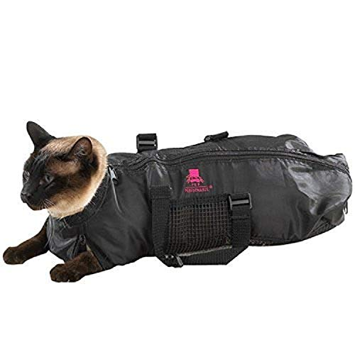 Top Performance Cat Grooming Bag — Durable and Versatile Bags Designed to Keep Cats Safely Contained During Grooming and/or Bathing - Medium, Black