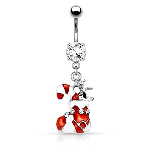 Covet Jewelry Candy Cane Stuffed Stocking Dangle Navel Ring (Steel)