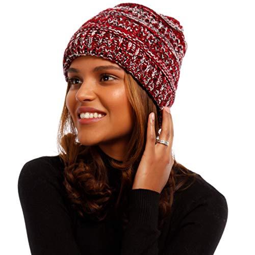 YC Fashion & Style Damen Mütze Beanie mit Zopföffnung Kinder & Erwachsene Strickmütze Pferdeschwanz-Mütze Winter, Farbe:Rot, Größe:One Size