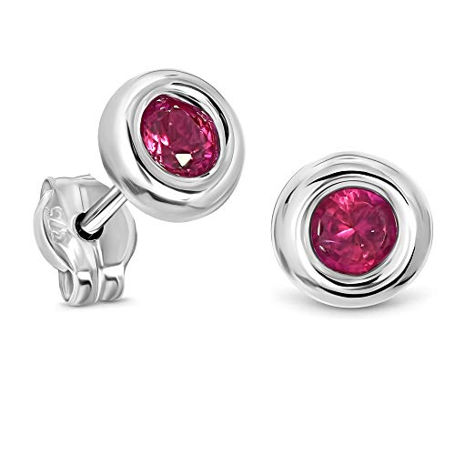 Miore red ruby stud earrings in 9 Kt 375 white gold