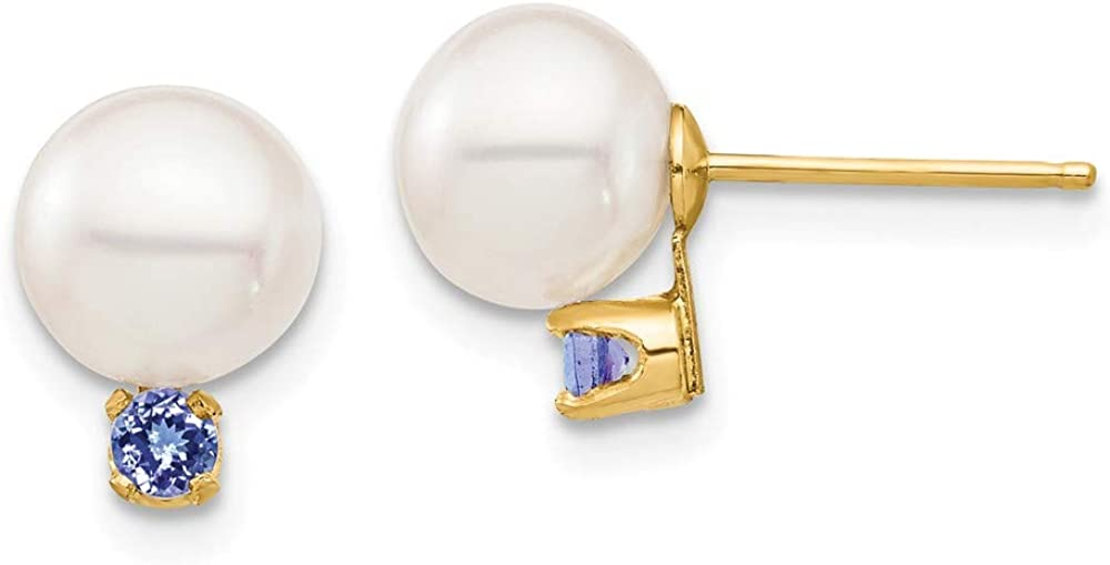 Solid 14k Yellow Gold 7-7.5mm White Round Freshwater Cultured Pearl Tanzanite Blue December Gemstone Post Studs Earrings