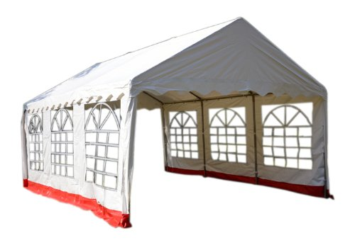 Nexos hochwertiges Festzelt Partyzelt Pavillon 3x6 m weiß/roter Rand mit Seitenteilen absolut wasserdichtes PVC Dach 400 g/m² extrem Starke Plane