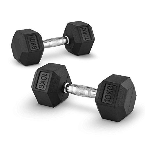 Capital Sports Hexbell - Kurzhantel, Kurzhantel-Set, Dumbbell, Zwei Kurzhanteln, 2x10 kg, rutschsichere, schwarz oxidierte Hantelgriffe, sechseckige Hantelköpfe, Hartgummi-Ummantelung, schwarz