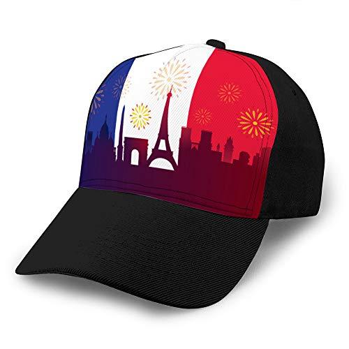 LINMIO1 Vintage Jeans Baseball Cap France Flag with Landmarks Skyline Celebration