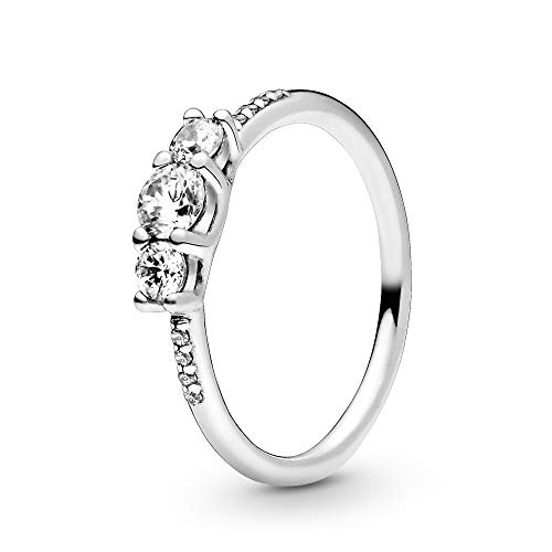 Pandora Jewelry Clear Three-Stone Cubic Zirconia Ring in Sterling Silver, Size 5