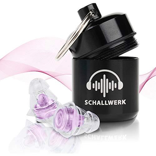 SCHALLWERK ® Women+ Gehörschutz Ohrstöpsel speziell für Frauen – dämpft Lärm & erhält Tonqualität – Ideal für Musik, Festivals, Arbeiten, Lernen