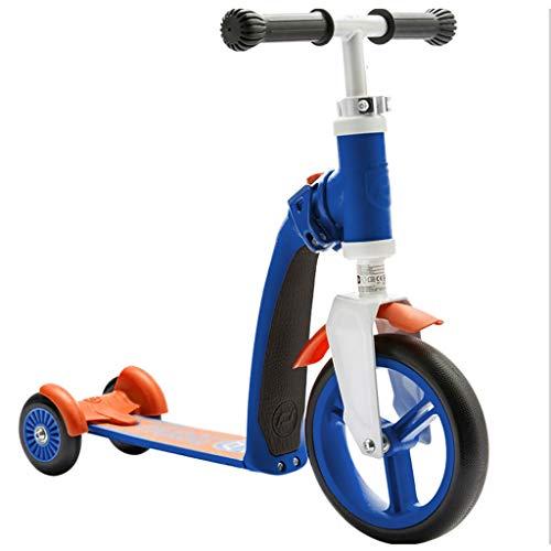 LICHUAN Scooter Scooter 3 ruedas 2 en 1 para niños, ruedas de poliuretano asiento plegable ajustable, asiento o pie con freno para niños y niñas de 2 a 12 años de edad (color: B)