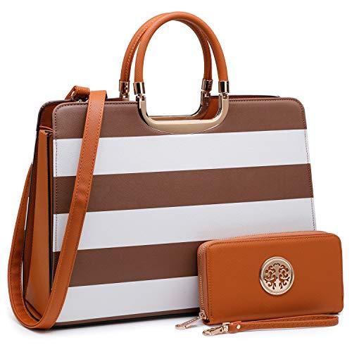 Women's Fashion Handbag Shoulder Bag Hinged Top Handle Tote Satchel Purse Work Bag with Matching Wallet (2-saffiano Coffee Stripe Wallet Set)