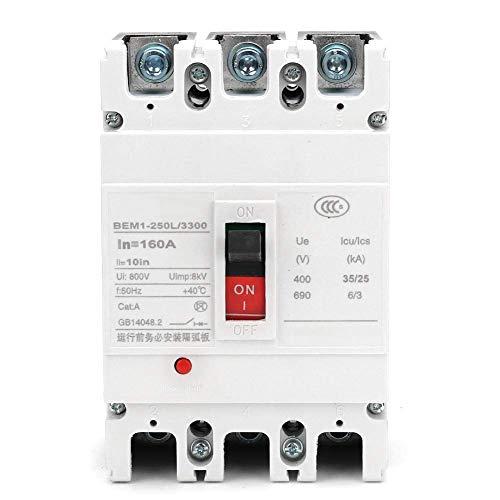 YISUNF Interruptor de Circuito disyuntor 800V 3P Protección Fuga de Aire con All Cobre Contact (160A)