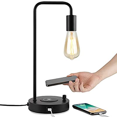 Industrial Table Lamp, Office Desk Lamp with Wireless Charging Pad and USB Port, Bedside Lamp Perfect for Bedroom Living Room Study Room Office