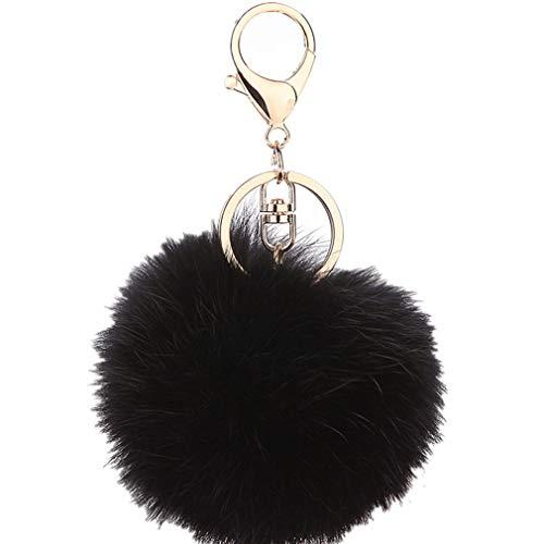 Schlüsselanhänger plüsch Ball Keychain Elegant Plüsch-Kugel Auto-Anhänger Taschenanhänger bommel Pompom Weich Schlüsselring Handtaschenanhänger Dekor (Schwarz)