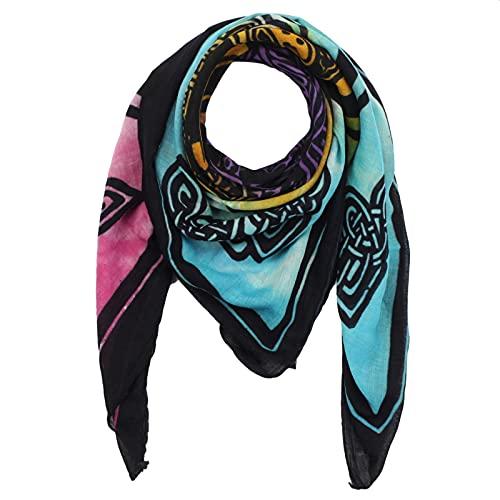 Superfreak® Baumwolltuch mit Keltischem Muster ° Tuch ° Schal ° 100x100 cm° Muster: Keltische Knoten und Figuren - schwarz/tie dye