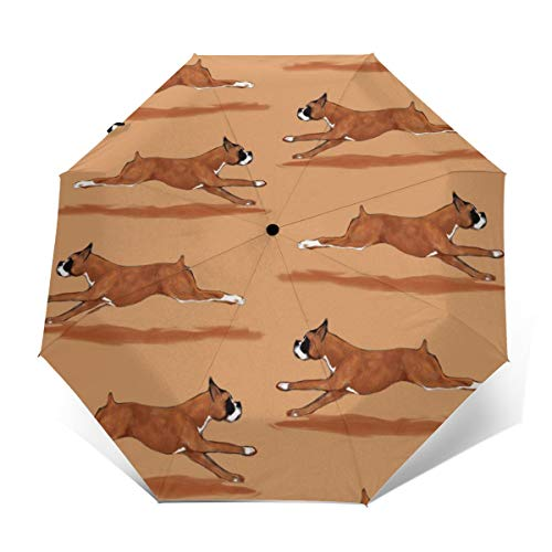 Compact Travel Umbrella - Windproof, Reinforced Canopy, Ergonomic Handle, Auto Open/Close Multiple Colors, Running Boxer Dog