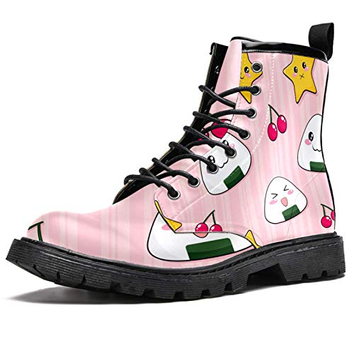 imobaby Cute Onigiri Rice Balls Prints Winter Boots for Women Girls Warm Snow Boot High Top Ankle Lace up School Shoes