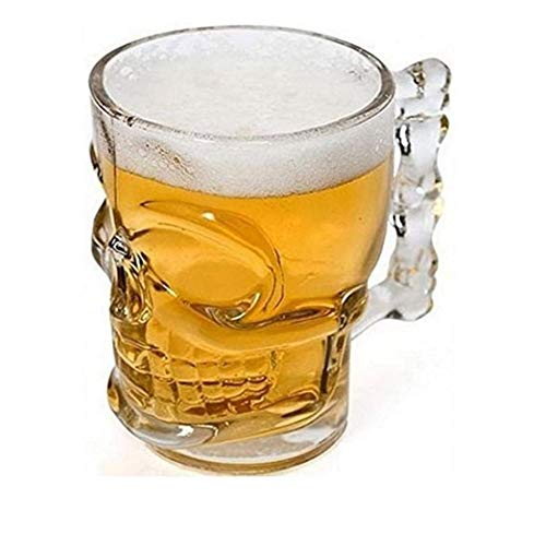 SOAR Botellero Casa de Cerveza Classcial Cristal Vidrio Cráneo Cara Hueso con asa Taza de Barra de Vino