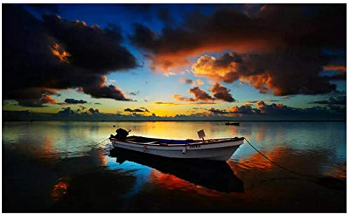 Refosian Barco a motor pequeño en un lago de pesca oscuro Arte de la película Impresión del cartel Decoración de la pared del hogar Lienzo Arte de la pared para la sala de estar -24X36 Pulgadas S