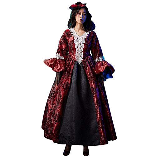 GBYAY Disfraces de Halloween Cosplay Disfraz de Bruja Aterrador para Mujer Disfraz Medieval Vestido Largo Negro