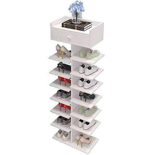 Zapatero de 7 Niveles Zapatero Gabinete de Almacenamiento de Zapatos de Madera Que Ahorra Espacio Adecuado para Entrada Pasillo de Entrada Baño Sala de Estar Zapatero (Color: Blanco)