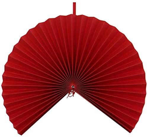 YXCUIDP Schöne chinesische Papier-Fan Fan des chinesischen Papiers hängen dekorative Wandhochzeitsfestdekoration (rot)