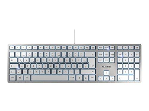 CHERRY KC 6000 Slim, AZERTY Tastatur, französisches Layout , kabelgebunden, flaches Design, Silber