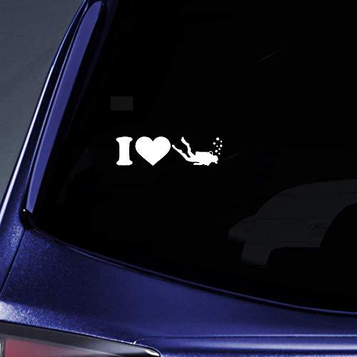5 Cm x 18,2 Cm Kreative Mode Auto Aufkleber Ich Liebe Tauchen Aufkleber Für Auto Laptop Fenster Aufkleber