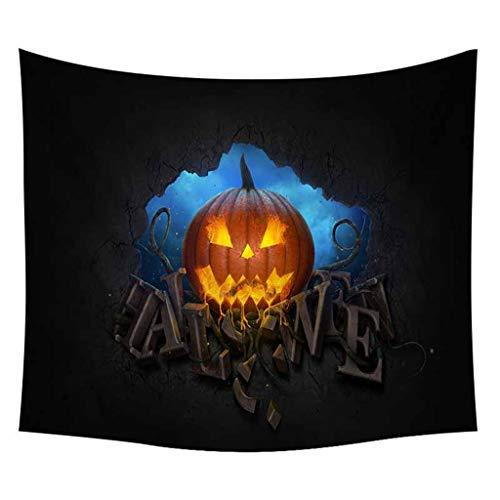 Huacat Wandteppich Halloween Kürbis Schädel Wandteppiche zu Hause Wandtuch Wandbehang Tischdecke Strandtuch Schöne