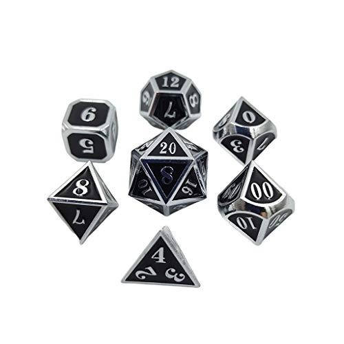 BINGHONG3 Juego de 7 dados de metal para mesa de escritorio, juego de mesa y accesorios
