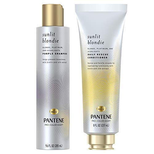 Pantene Sunlit Blondie Purple Shampoo and Daily Rescue Conditioner, for Blonde and Color Treated Hair, with Biotin and Silk Extract, Bundle