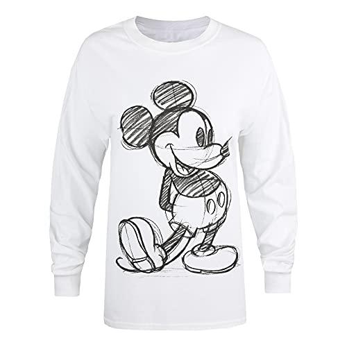 Disney Mickey Sketch Camiseta, Blanco, S para Mujer