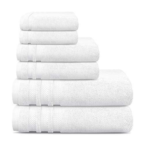 TRIDENT Luxury Hotel Collection, Extra Grande, 100% algodón, 625 gsm, sin torsión, Super Suave, Extra Absorbente (Blanco, Juego De 6 Piezas)