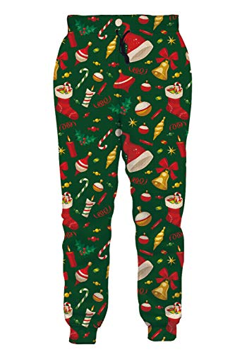 Mens Athletic Fit Joggers Pants All Over Print Baggy Track Polo Trousers Green Red White Christmas Fashion Stylish Sportwear Slacks for Male Guys Big Boys Vacation Casual Wear