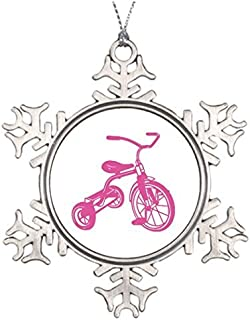 Metal Ornaments Tree Branch Decoration Pink Tricycle Ball Snowflake Ornaments