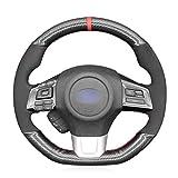 MEWANT Carbon Fiber Steering Wheel Cover for Subaru WRX (STI) 2015-2019 / Levorg 2015-2019/ Made of Bright Carbon Fiber and Suede/WRX Steering Wheel Cover