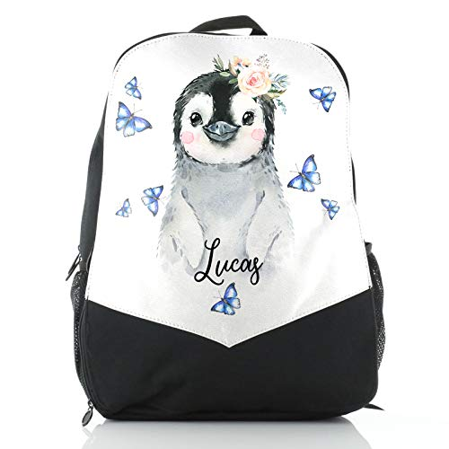Personalised Bag, Black and White Backpack Customised with Initial/Name/Text, Penguin Butterfly Design, School Bag, Rucksack, Size: (38cm x 26.5cm)