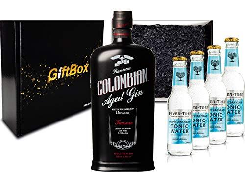 Gin Tonic Giftbox Geschenkset - Dictador Colombian Aged Gin Black 0,7l 700ml (43% Vol) + 4x Fever Tree Mediterranean Tonic Water 200ml inkl. Pfand MEHRWEG -[Enthält Sulfite]