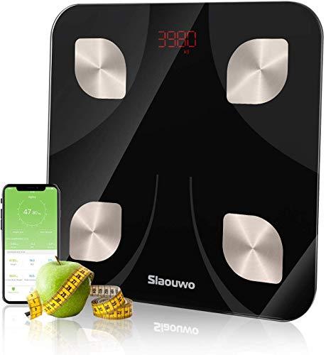 Körperfettwaage, VOGEK Digital Personenwaagen Bluetooth Körperanalysewaage mit APP Smart Waage für Gewicht Körperfett Fitness-Monitor,BMI,Muskelmasse,Wasser,Protein,BMR