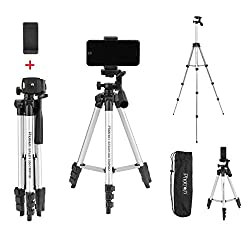 PHOTRON STEDY 350 Tripod with Mobile Holder for Smart Phone, Compact Digital Camera, Mobile Phone   Maximum Operating Height: 1050mm   Weight Load Capacity: 2kg   4-Tube Section, Case Included,Yamona,PHT350