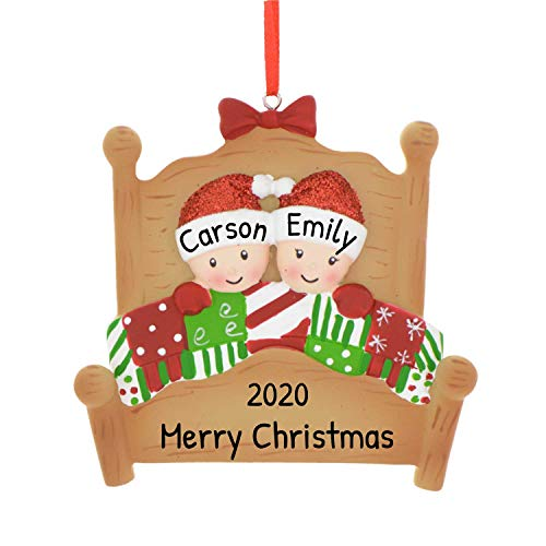 Personalized Bed Family of 2 Christmas Tree Ornament 2020 - Twin Sibling Sleepyheads Red Hat Pattern Quilt Wooden Bedstead Friend Grand-Children Cousin Parent Gift Year - Free Customization (Two)