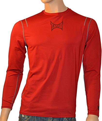 Tapout Pro Herren Langarm Kompression T-Shirt Combat in Rot, Größe:2XL, Farbe:Rottöne
