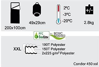 Freetime Condor 450xxl -Sacs de Couchage Grands froids .-20°C.Sac de Couchage Couverture